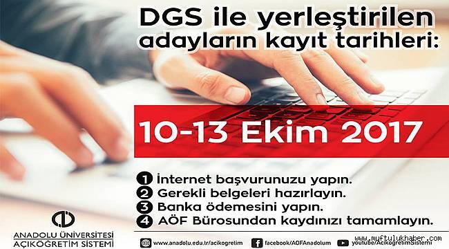 DGS Kayıtları 10 Ekim 2017 Salı başlıyor