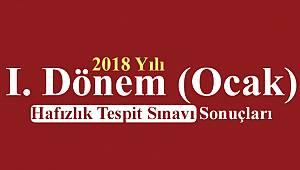 2018 Yılı I. Dönem (Ocak) Hafızlık Tespit Sınavı Sonuçları