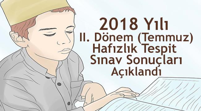 2018 Hafızlık Tespit Sınav Sonuçları Açıklandı