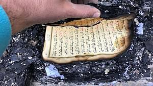 Yanan lojmanda Kur'an-ı Kerim zarar görmedi