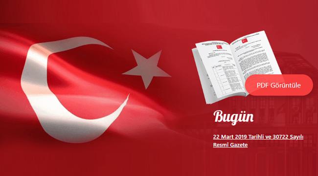 22.03.2019 Tarihli Resmi Gazete