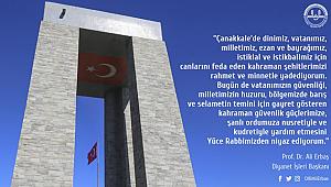 Başkan ERBAŞ dan 18 Mart Çanakkale Şehitlerini Anma Mesajı