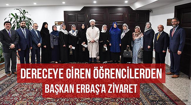 Dereceye giren öğrencilerden Başkan Erbaş'a ziyaret