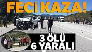 Erzincan'da feci kaza: 3 ölü, 6 yaralı