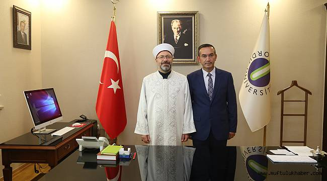Başkan Erbaş dan Rektör Akdoğan'a Ziyaret