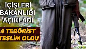 İçişleri Bakanlığı açıkladı : 4 terörist teslim oldu
