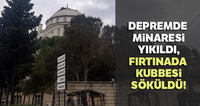 Depremde minaresi yıkıldı, fırtınada kubbe kaplaması söküldü