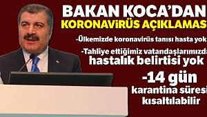 Sağlık Bakanı Fahrettin Koca: 'Ülkemizde koronavirüs tanısı hasta yok'
