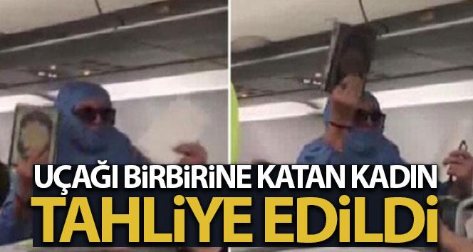 Uçakta olay çıkaran kadına tahliye