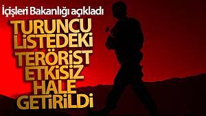 İçişleri Bakanlığı: 'Tunceli'de Turuncu Liste'de aranan terörist etkisiz hale getirildi'