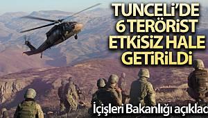 Tunceli'de etkisiz hale getirilen terörist sayısı 6 oldu