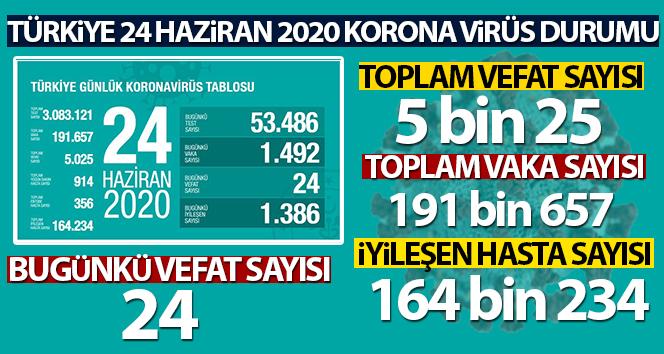 Türkiye'de koronavirüs nedeniyle son 24 saatte 24 kişi hayatını kaybetti