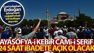 Cumhurbaşkanı Erdoğan'dan talimat, Ayasofya 24 saat açık kalacak