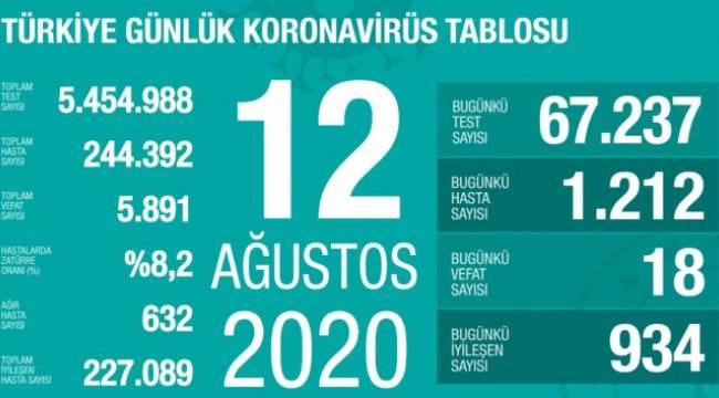 Türkiye'de son 24 saatte 1.212 kişiye Kovid-19 tanısı konuldu