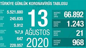 Türkiye'de son 24 saatte 1.243 kişiye koronavirüs tanısı konuldu