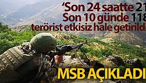 MSB: 'Son 24 saatte 21, son 10 günde 118 PKK/YPG'li terörist etkisiz hale getirildi'