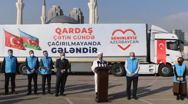 Diyanetten Azerbaycan'a insani yardım malzemesi