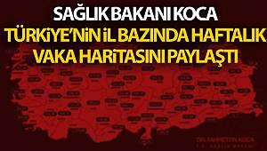 Sağlık Bakanı Koca, Türkiye'nin il bazında haftalık vaka haritasını paylaştı